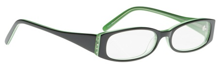 check out the hot combination of black and emerald green in this bargain frame i love the great shape of these glasses and how their retro look