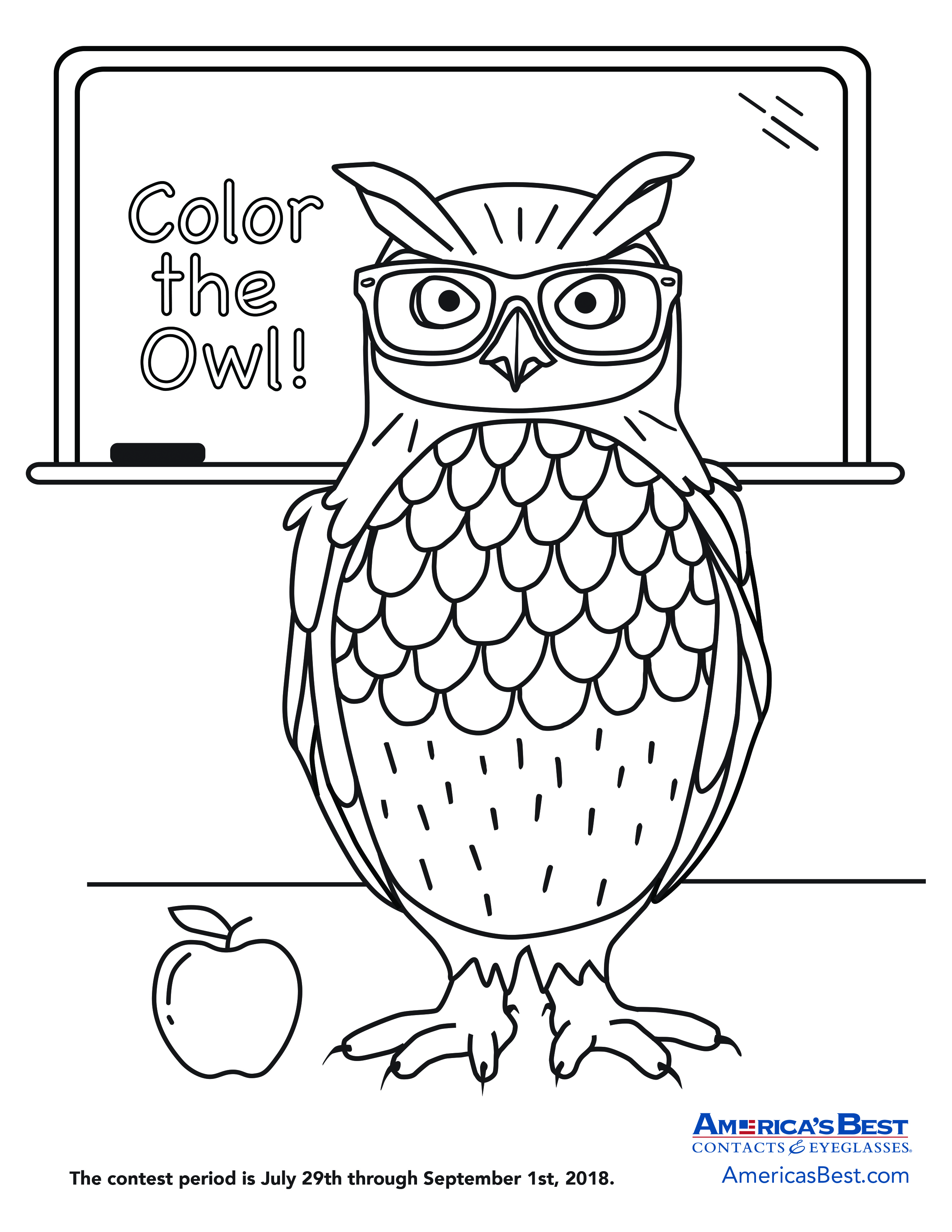 - 2018 America's Best Color The Owl Sweepstakes My Best Eyeglasses